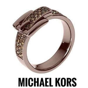 Michael Kors Buckle Ring Band Size 9 Steel Crystal
